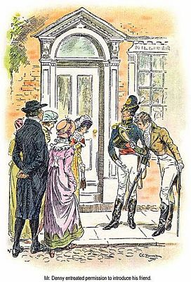 Detail of C. E. Brock illustration for 1895 edition of Pride and Prejudice, ch 15, public domain image