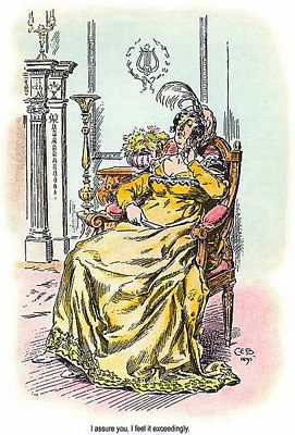 Lady Catherine de Bourg, Detail of C. E. Brock illustration for 1895 edition of Pride and Prejudice, ch 37, public domain image