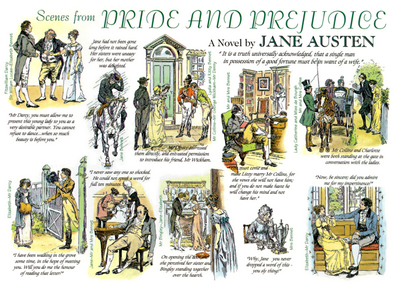 Scenes from Pride and Prejudice, a Card of Brock's illustrations, ca 1885, public domain image