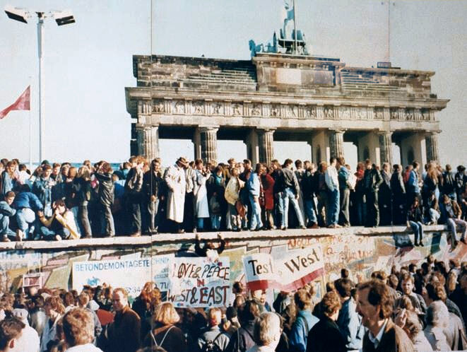 Fall of the Berlin wall, 1989, published under GNU Free Documentation License by copyright holder Lear 21