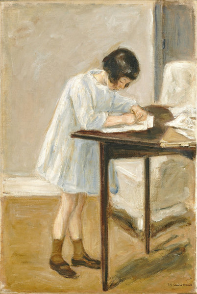 The Granddaughter writing, 1923, by Max Liebermann