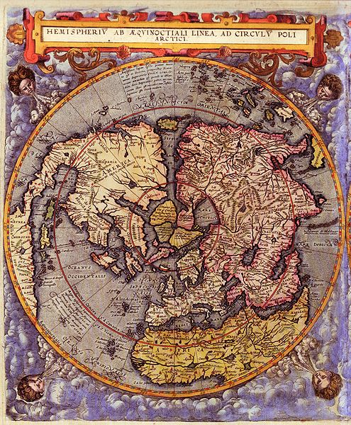 1593 map Northern Hemisphere, Gerard de Jode