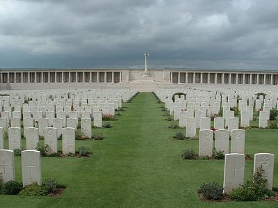 Dulce et Decorum est, One of many, many graveyards in the Somme battlefields, this one is on the main road between Albert and Baupaume, licensed under Creative Commons Attribution 2.0, by author Chris Hartford from London, UK