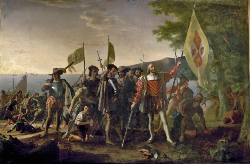 Christopher Columbus is shown landing in the West Indies, on an island that the natives called Guanahani and he named San Salvador, on October 12, 1492. He raises the royal banner, claiming the land for his Spanish patrons, and stands bareheaded, with his hat at his feet, in honor of the sacredness of the event. The captains of the Niña and Pinta follow, carrying the banner of Ferdinand and Isabella. The crew displays a range of emotions, some searching for gold in the sand. Natives watch from behind a tree. John Vanderlyn (1775-1852) had studied with Gilbert Stuart and was the first American painter to be trained in Paris, where he worked on this canvas for ten years with the help of assistants.