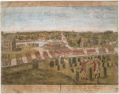 British Army in Concord, handcolored engraving by Amos Doolittle, produced in 1775, public domain image