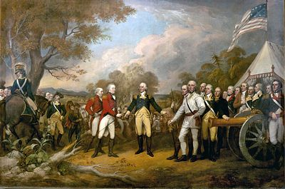 TTOF scene of the surrender of the British General John Burgoyne at Saratoga on October 17, 1777, artist John Trumbull, public domain image