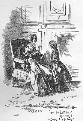 """How dare I, Mrs. Reed? How dare I? Because it is the truth."" 1847 edition of Jane Eyre, image by F. H. Townsend, public domain"