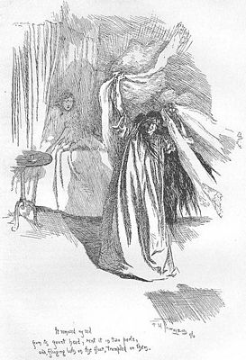 It removed my veil from its gaunt head, rent it in two parts, and, flinging both on the floor, trampled on them.  1847 edition of Jane Eyre, image by F. H. Townsend, public domain