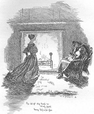 She did not stoop towards me, but only gazed, leaning back in her chair.  1847 edition of Jane Eyre, image by F. H. Townsend, public domain