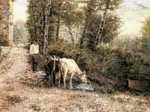 Cows Watering at a Quiet Pool by  Eugenio Zampighi, public domain