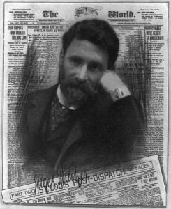 Joseph Pulitzer, chromolithograph superimposed on composite front cover of his newspapers, c. 1904, public domain image from the U.S. Library of Congress prints and photographs division