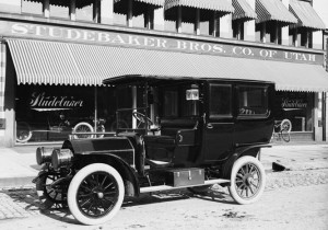 The 1908 Studebaker Brothers limousine.  This limousine had an open driver's compartment for the chauffeur and a closed cabin for the passengers, typical in Edwardian limousines, public domain image
